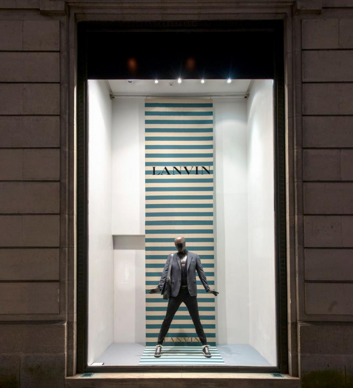 "Lanvin "" stripes ""shop windows in Paris"