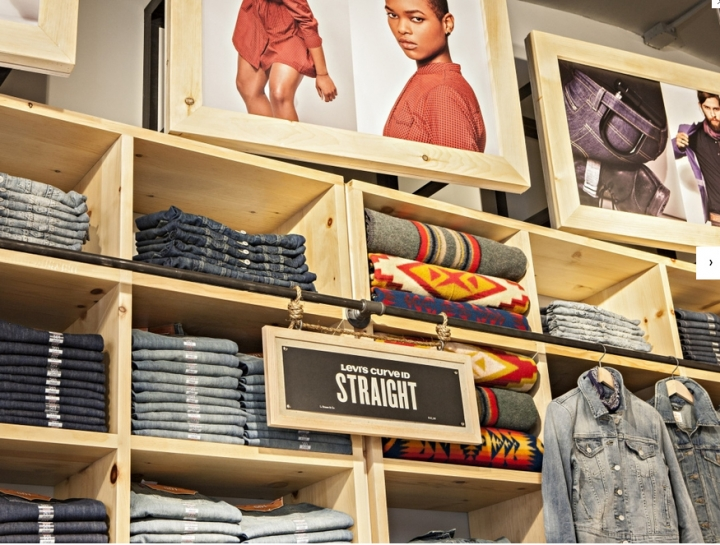 Rustic levi's shop design in Soho