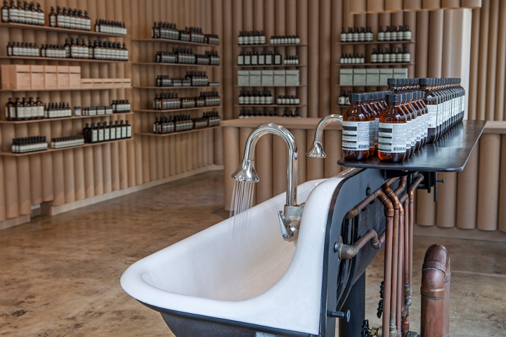 Aesop L.A store made from recycled cardboard tubes by Brooks + Scarpa
