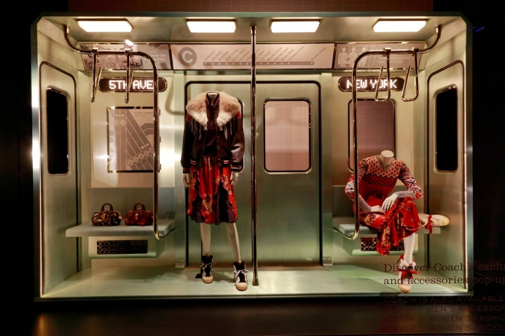 Subway window display for Coach