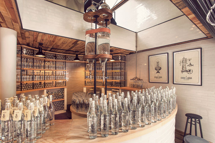 Casa Del Agua bottled water boutiqueconcept in Mexico City