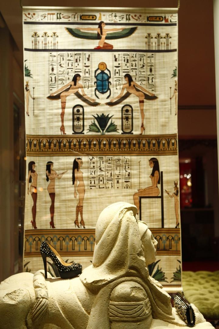 Christian Louboutin windows egyptian theme