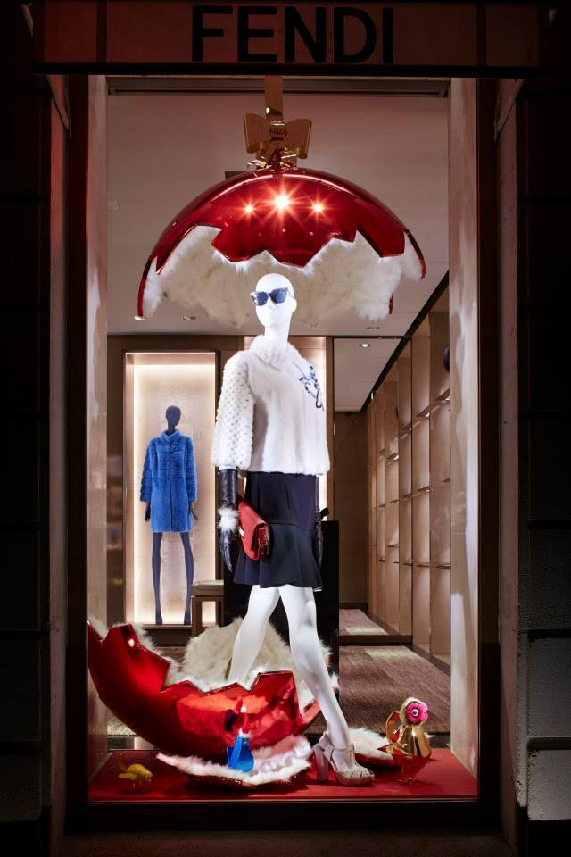 Fendi's christmas windows displays and props 2014