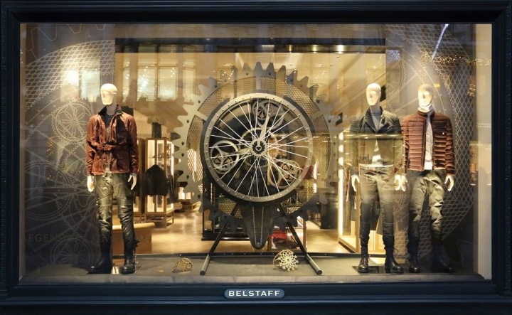 Belstaff holiday windows display by Checkland Kindleysides